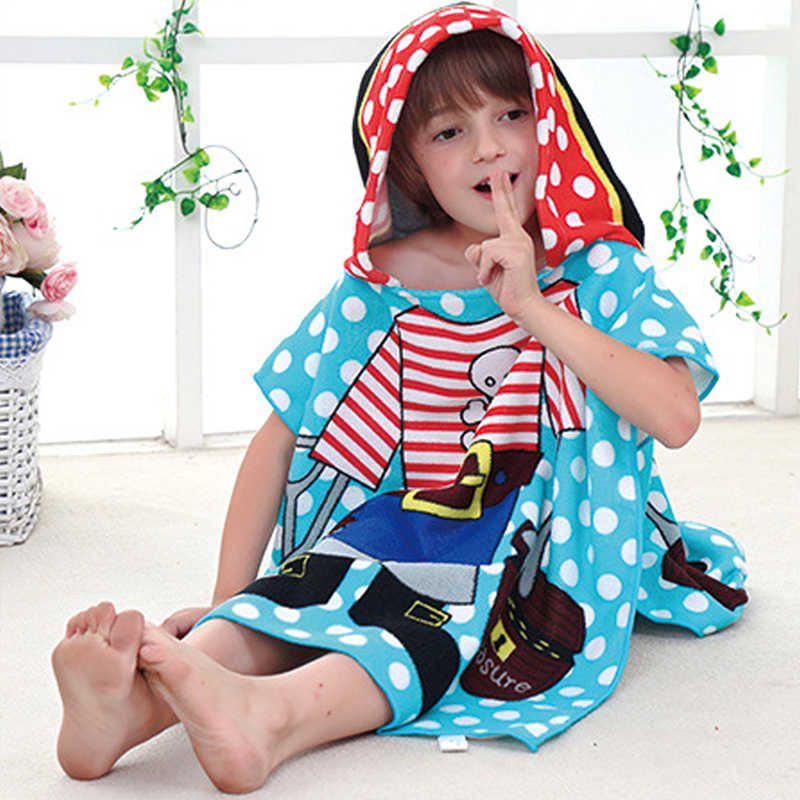 72a1a9e30 ... Children Bathrobes Baby Cotton Poncho Hooded Towel 0-6T Cartoon Mermaid Kids  Bath Robe Girls ...