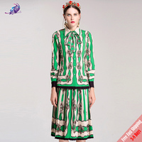 High Quality Fashion Desginer 2018 Runway Suit Sets Women S Spring Green Floral Printed Blouse Pleated