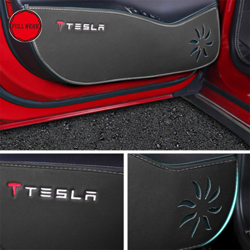 Car Styling Door Protecter Side Edge Protection Pad Armrest Cushion for 2014-2017 Tesla Model S Interior Accessory Set of 5 pcs 2 colors car styling protector side edge protection pad protected anti kick door mats cover for peugeot 3008 2014 2015 2016