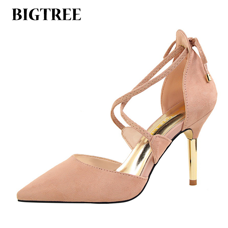 Elegant Shoes Woman Lace-up Bowtie Ankle Cross Straps Gladiator Metal Decoration Stiletto High Heels Pointed Toe Women Pumps fashion pointed toe lace up mens shoes western cowboy boots big yards 46 metal decoration