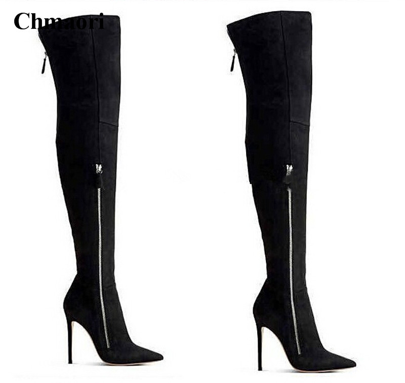 Women Winter New Fashion Pointed Toe Suede Leather Over Knee High Heel Boots Zipper-up Long Sexy Boots Dress Shoes Boots