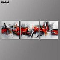 3 pcs AONBAT ART Encadré 100% Peint À La Main Peinture À L'huile Ensemble de rouge noir abstrait Murale Décorative photo Art prêt à accrocher