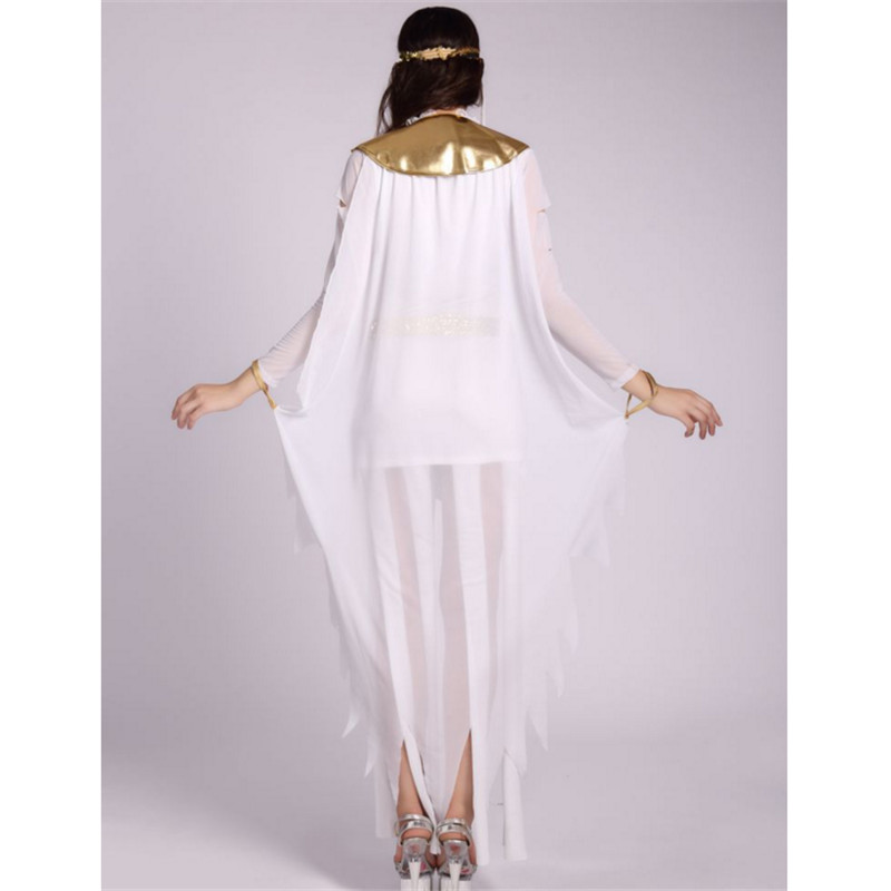 high quality cleopatra clothingSexy white Egypt queen Party Dress Greek Goddess Cosplay Athena Roman Princess Costume Halloween