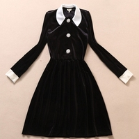 Runway Dress College Hit The Color Black And White Lapel Dress Velvet Rhinestone Button Slim Pleeated