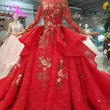 AIJINGYU 教徒ドレスロング列車トルコカジュアルチュールプリーツ夜会服の割引デザイナーのウェディングドレス