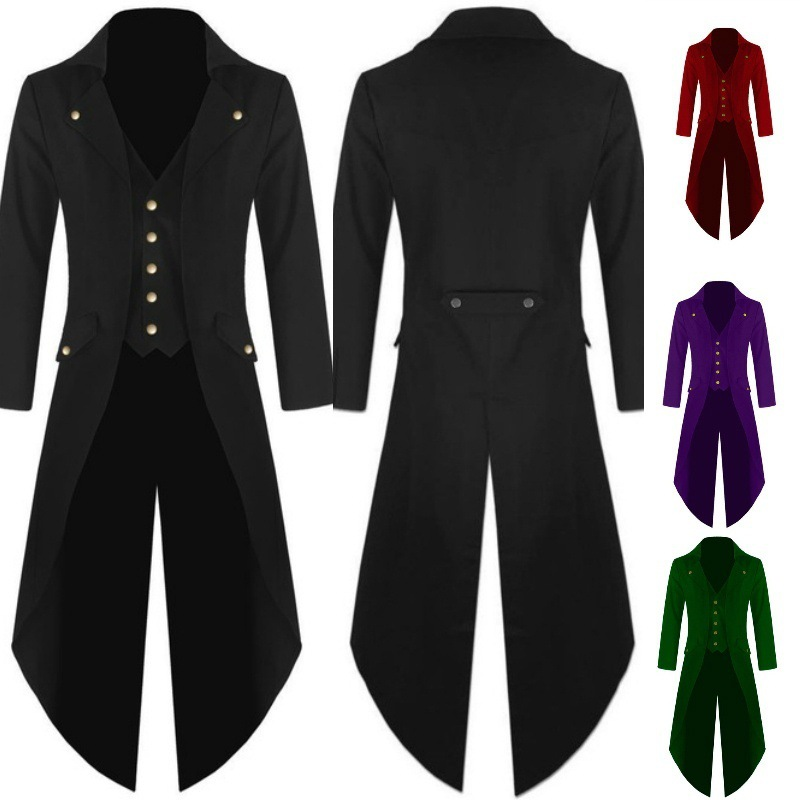2018 Men's Outwear Steampunk cosplay  Vintage Tailcoat winter military Jacket Gothic Victorian Frock Coat Batman Uniform Costume