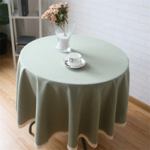 Pastoral Rhombus Green Plaid Tablecloth For Table Cotton Wedding Table Clothes Round Lace Edge Dustproof Cabinet Cover Decor
