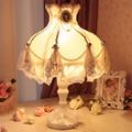 Europeu rendas decorativo abajur tecido lâmpada de cabeceira Quarto lâmpada lâmpada de cabeceira princesa se casou com lâmpada