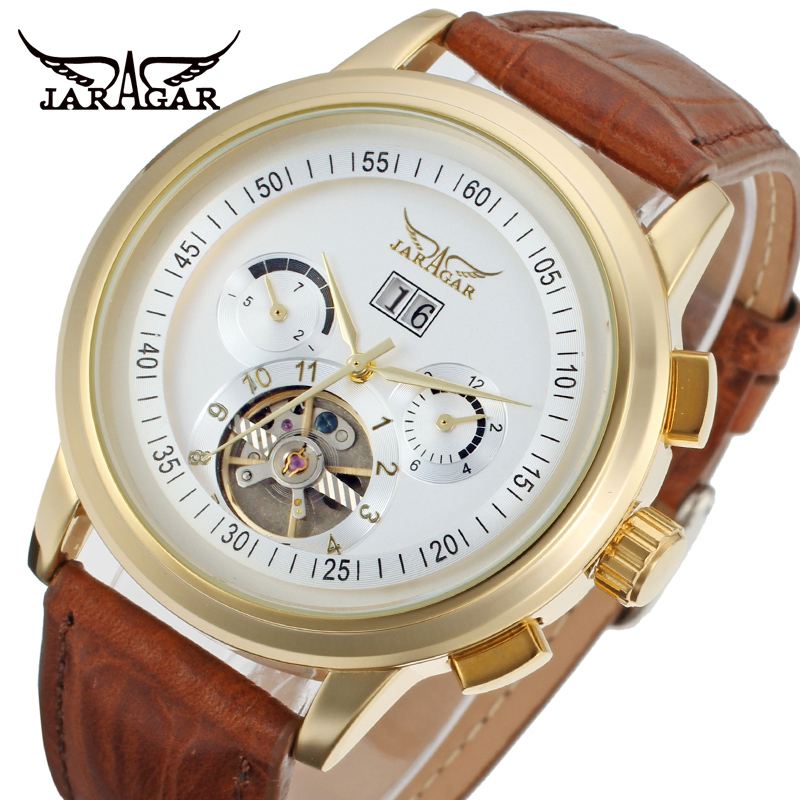 Famous brand Jargar 2014 Automatic gold color men wristwatch tourbillon brown leather strap free shipping lo ultimo en reloj tourbillon