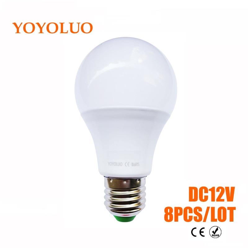 8pcslot e27 led bulb lights 3w 6w dc12v led lamp 9w 12w 15w energy saving lampada 12 volts led light bulbs for outdoor lighting