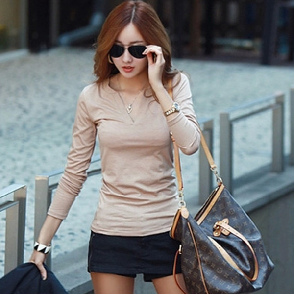 HTB1sWKQFQCWBuNjy0Faq6xUlXXau - Women Korean t shirt Basic V Neck Long Sleeve Fitted Plain Top Solid Stretch Shirt