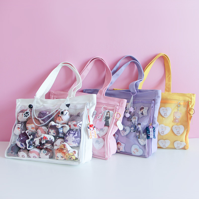 Japanese Anime Jk Uniform Bag Handbag Cosplay Transparent Jelly Candy Cute Lolita Canvas Itabag Single Side Shoulder Bag