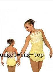 Geel figuur schaatsen jurk voor meisjes kristallen schaatsen jurken custom vrouwen ice figuur jurk geen mouwen gratis verzending