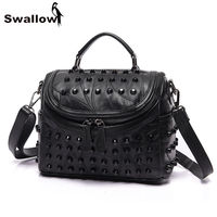 SWALLOW Rivet Genuine Leather Women Bag Punk Fashion Luxury Handbags Women Bags Designer Sheepskin Shoulder Crossbody