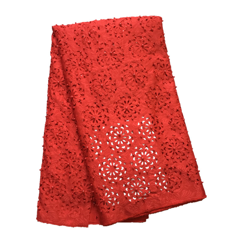 Beautiful rED Color Lasercut design Laser Cut Lace Fabric with Beads and Stones for Women Evening DressBeautiful rED Color Lasercut design Laser Cut Lace Fabric with Beads and Stones for Women Evening Dress
