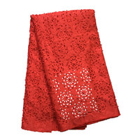 Beautiful rED Color Lasercut design Laser Cut Lace Fabric with Beads and Stones for Women Evening Dress