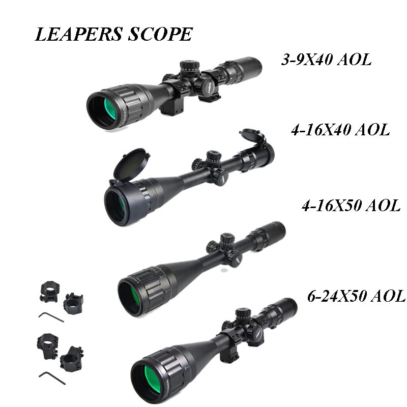 LEAPERS 3-9x40 AOL Hunting Scopes 4-16x50 Rifle Sights Optic Tactical Riflescope 6-24x50 Long Range Riflescope Lunette Tactique t eagle 6 24x50 sffle riflescope side foucs rifle scope with spirit level tactical long range rifles airsoft air gun
