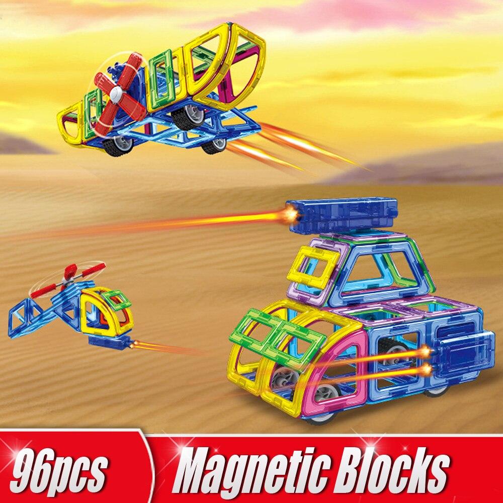 96pcs/Set Magnetic Blocks 3D Magnetic Designer Construction Blocks DIY Creative Building Blocks Educational Kids Toys Airplanes magplayer 3d magnetic blocks assemblage 65pcs magnetic blocks magnetic model diy building blocks educational toys for children
