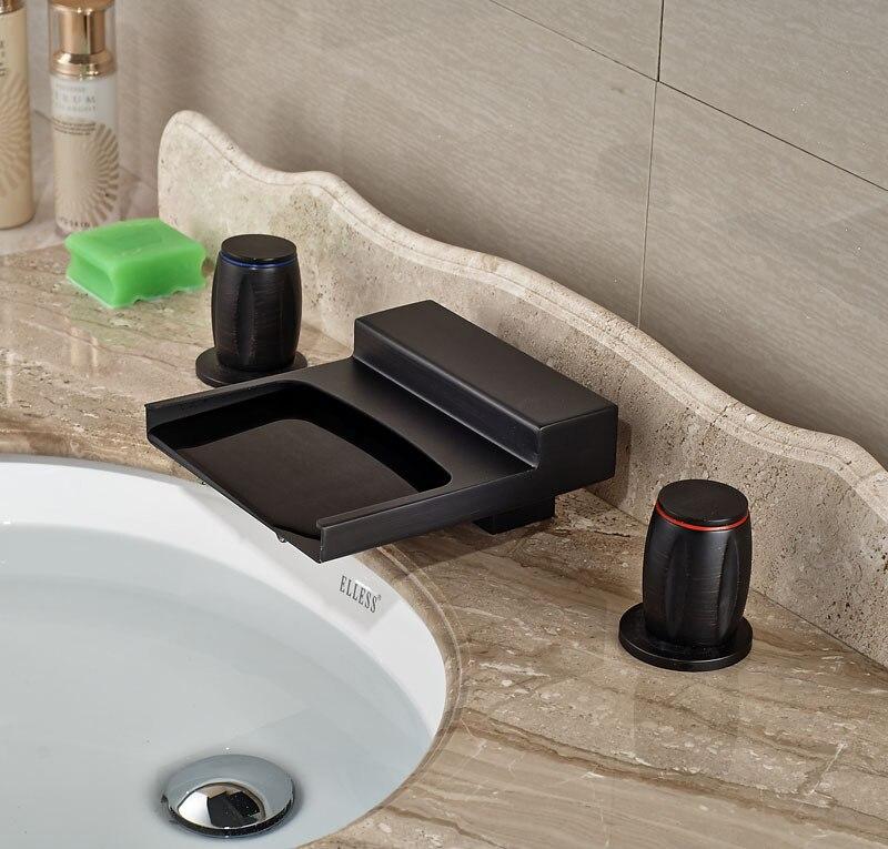 Здесь продается  Contemporary Deck Mounted 3pcs Bathroom Tap Oil Rubbed Broze Basin Faucet Hot&Cold Faucet  Строительство и Недвижимость