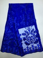Newest design Gold African Swiss voile lace French lace Embroidery Fabric 5 Yardsfor party dress Fast shipping soft royalblue