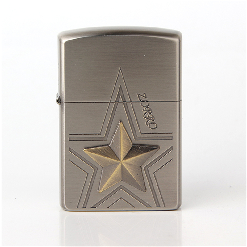 Free shipping Cigarette Accessories Copper material oil lighter Big bronze five-pointed star Metal kerosene lighters