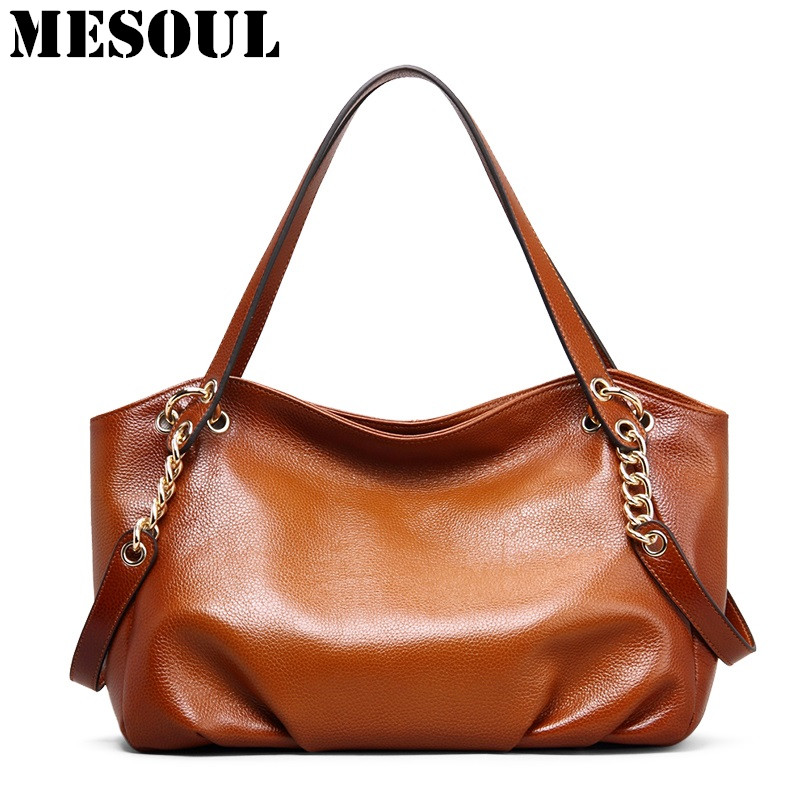 Women Top-Handle Bags Genuine Leather Female Shoulder Bags Vintage Brown Designer Handbags Satchel Purses Office Casual Hand Bag 2pcs set vintage handbags women messenger bag female purse solid shoulder office lady casual tote genuine leather top handle bag