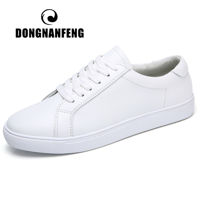 DONGNANFENG White Shoes Vulcanized-Shoes Female Korean Genuine-Leather Women Ladies Flats