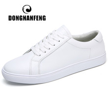 DONGNANFENG Women Female Ladies Girl Student Genuine Leather White Shoes Flats Lace Up Soft Vulcanized Shoes Korean 35-40 MF-863(China)