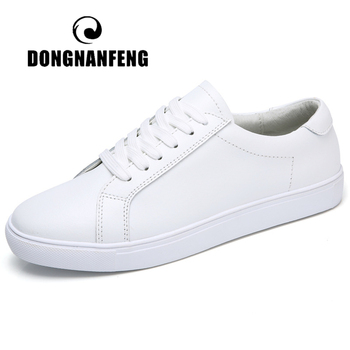 DONGNANFENG Women Female Ladies Girl Student Genuine Leather White Shoes Flats Lace Up Soft Vulcanized Shoes Korean 35-40 MF-863 new fashion women white shoes flats platform student female korean soft casual rubber lace up pu leather joker superstar ks 508