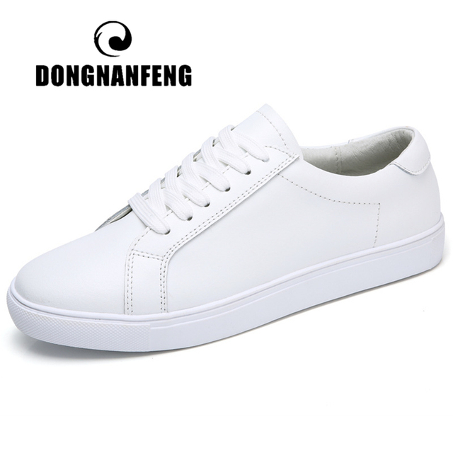 DONGNANFENG Women Female Ladies Girl Student Genuine Leather White Shoes Flats Lace Up Soft Vulcanized Shoes Korean 35-40 MF-863