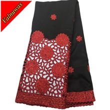 купить African George Lace Fabric High Quality Nigerian George Lace Fabric Classic color matching black and red color For Wedding Party дешево