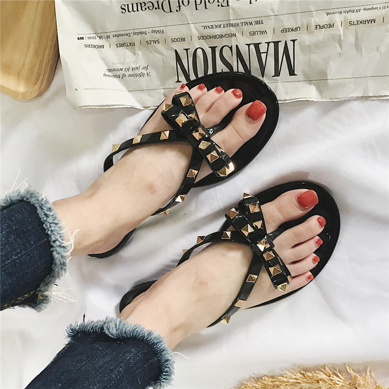 13ab3f45889f 2018 fashion women sandals flat jelly shoes bow V flip flops stud beach  shoes summer rivets slippers Thong sandals nude -in Women s Sandals from  Shoes on ...