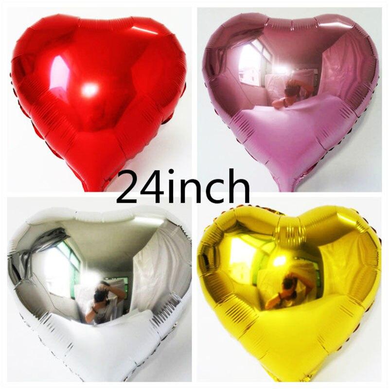 Nova chegada 1 peças/lote 24 polegadas balão do coração 60 CM OURO/AZUL/VERMELHO/PRATA coração globos para casamento/aniversário decoração festa