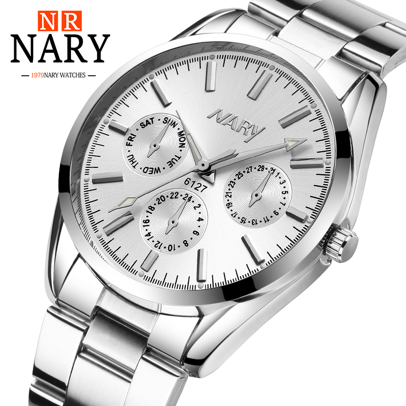 NARY Fashion Faux Chronograph Bathed Classic Geneva Ladies Quartz Watch Women Crystals Wrist Watches Women's Watch otoky geneva quartz women watch fashion faux ceramic watches casual quartz watch skull dress ladies wrist watches 30 gift 1pc