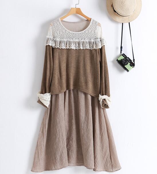 Mori Kız Dantel Prenses Yumuşak Sıcak Elbise Cawaii Lolita Rahat Kadın Tavşan Saç Elbise Tunique Boho Faldas Mori Vestido Giyim