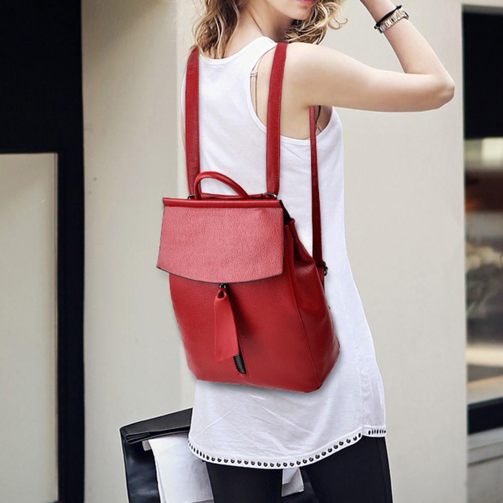 Simple Style Backpack Women PU Leather Backpacks For Teenages Girls School  Bags Fashion Solid Black Shoulder 280b88b7f0baa