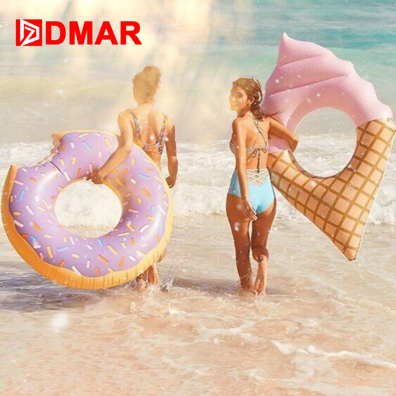 DMAR 107cm 42inch Inflatable Donut Swimming Ring Giant Pool Float Water Toys Inflatable Mattress For Kids Adults Beach Sea Party