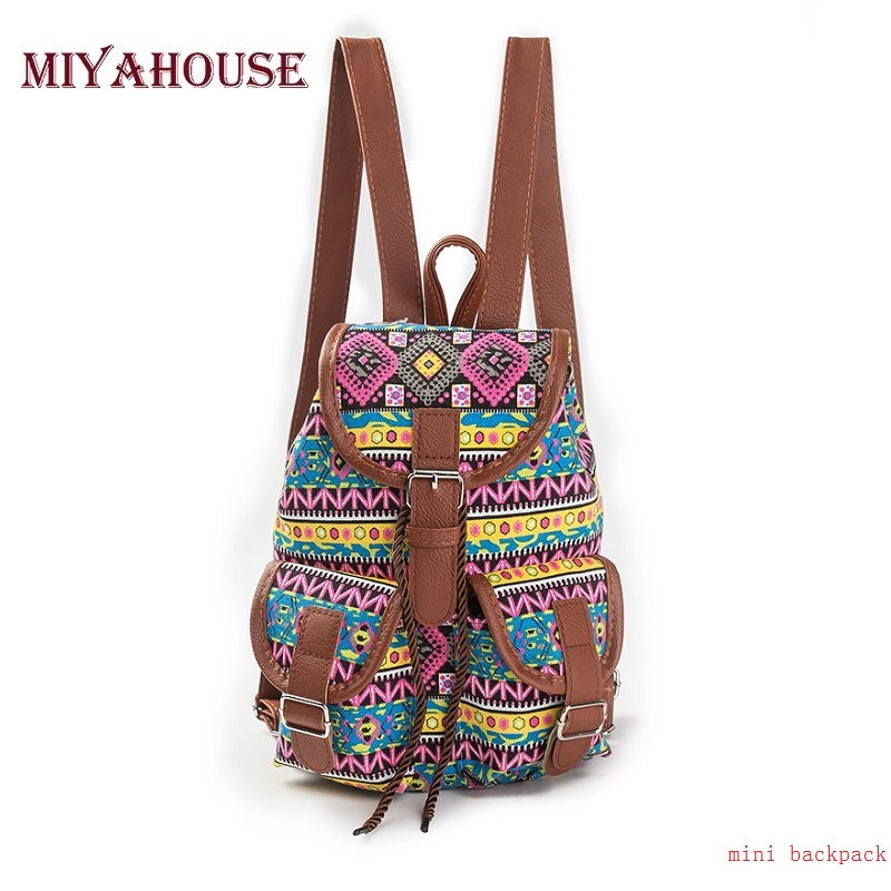 Miyahouse Vintage Canvas Small Rucksack High Quality Women Backpack Mini Ladies Drawstring Shoulder Bags School Student Backpack