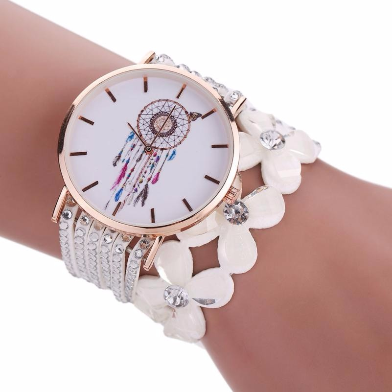 Elegant Ladies Diamond Crystal Watch Women Fashion Dreamcatcher Pattern Quartz Watches Women Bracelet Wrist Watch Relogio #Ju