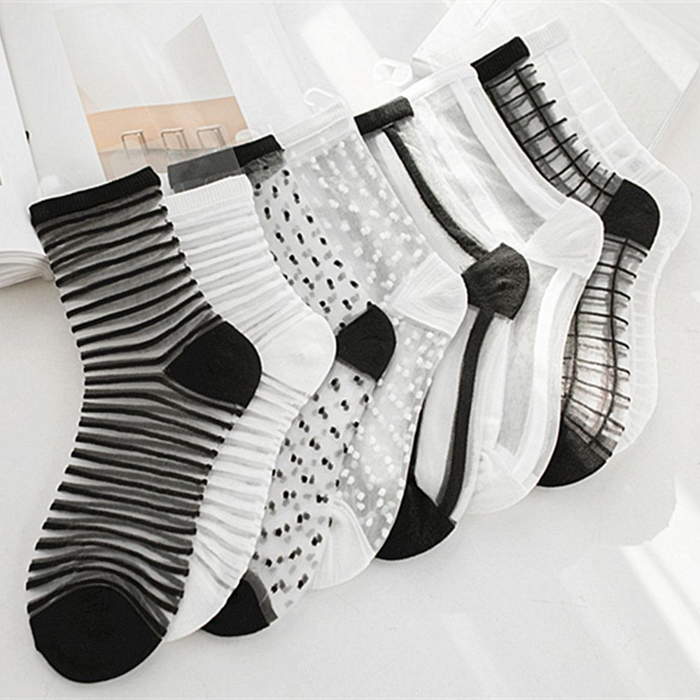 Lace Mesh Fishnet Socks Nylon Transparent Stretch Elasticity Stripe Dot Ankle Sock Net Yarn Thin Women Cool Socks 1 Pair