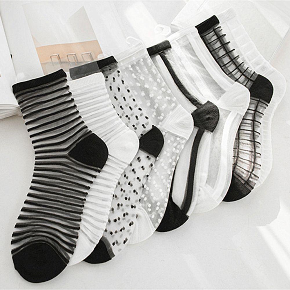 Lace Mesh Fishnet Socks Nylon Transparent Stretch Elasticity Stripe Dot Ankle Sock Net Yarn Thin Women Cool Socks 1 Pair