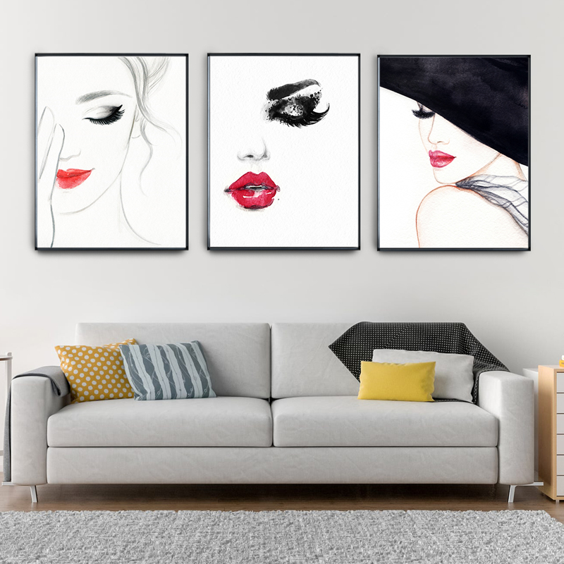 Nordic Canvas Portray Bar Kitchen Dwelling Room House Ornament Lovely Lady Purple Lips Attractive Lady Posters Prints Wall Artwork Image