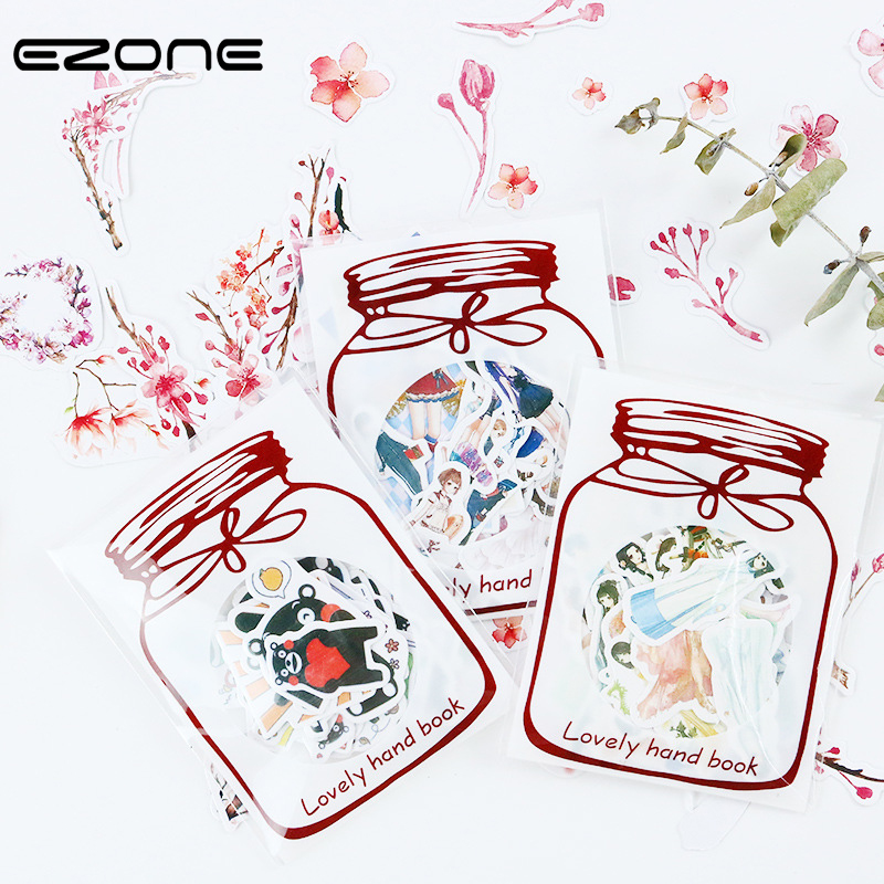 EZONE Cute Cartoon Sticker Printed Kawaii Girl/Foods/Flower/Butterfly  Diy Scrapbooking Diary Stickers Stationery Toy For Kids