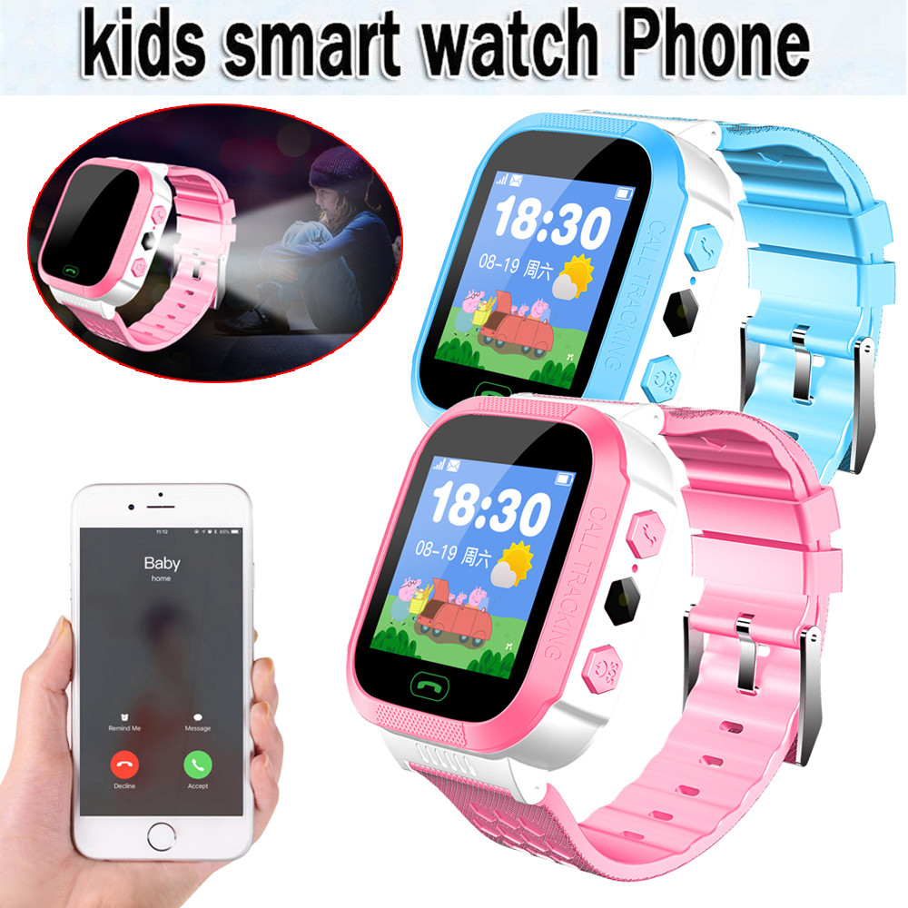 Children Smart Watch Phone With GSM Locator Screen Energy Saving Flashlight Fitness Tracker Alarm SOS Smartwatch For Kids Gifts