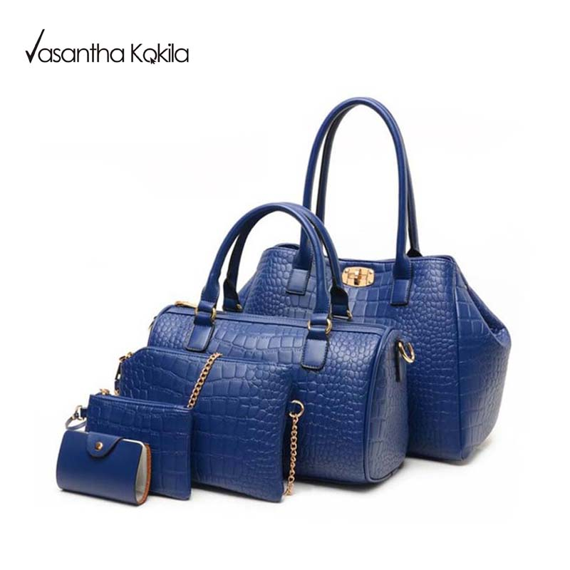 5 PCS/Set Women Bag Crocodile Pattern Composite Bag Vintage Women Messenger Bags