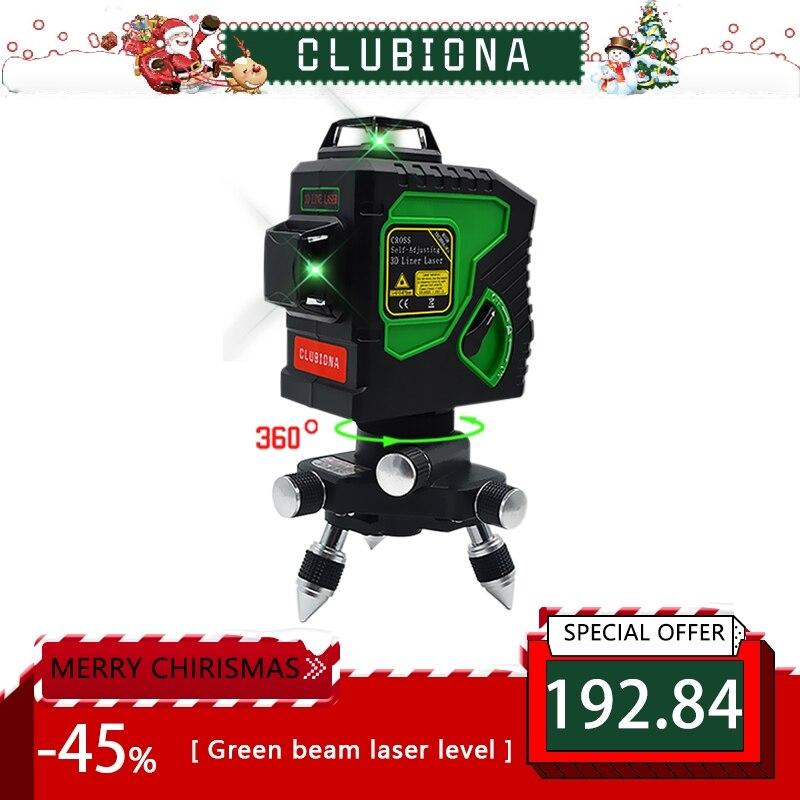 Clubiona 3D 12GH 12 Linee di Livello del Laser con Auto-Livellamento 360 Orizzontale E Verticale Croce Super Potente Laser VERDE fascio di Linee