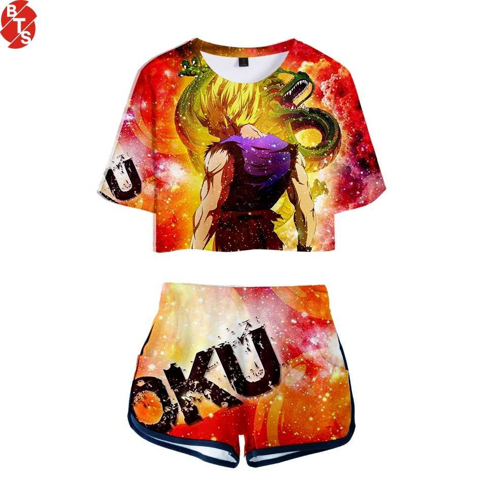 Dragon Ball deux-pièces 2018 été imprimer T-shirt Anime jeux chauds dames Sexy nu à manches courtes + Shorts ensemble de mode