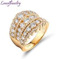 Loverjewelry удивительные обручальное кольцо 18kt Желтое золото роскошный настоящие бриллианты для Для женщин Обручение обручальные кольца ювели