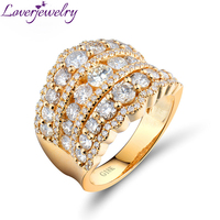 Loverjewelry Amazing Wedding Band Ring 18kt Yellow Gold Luxury Real Diamonds For Women Engagement Wedding Rings Jewelry WU240