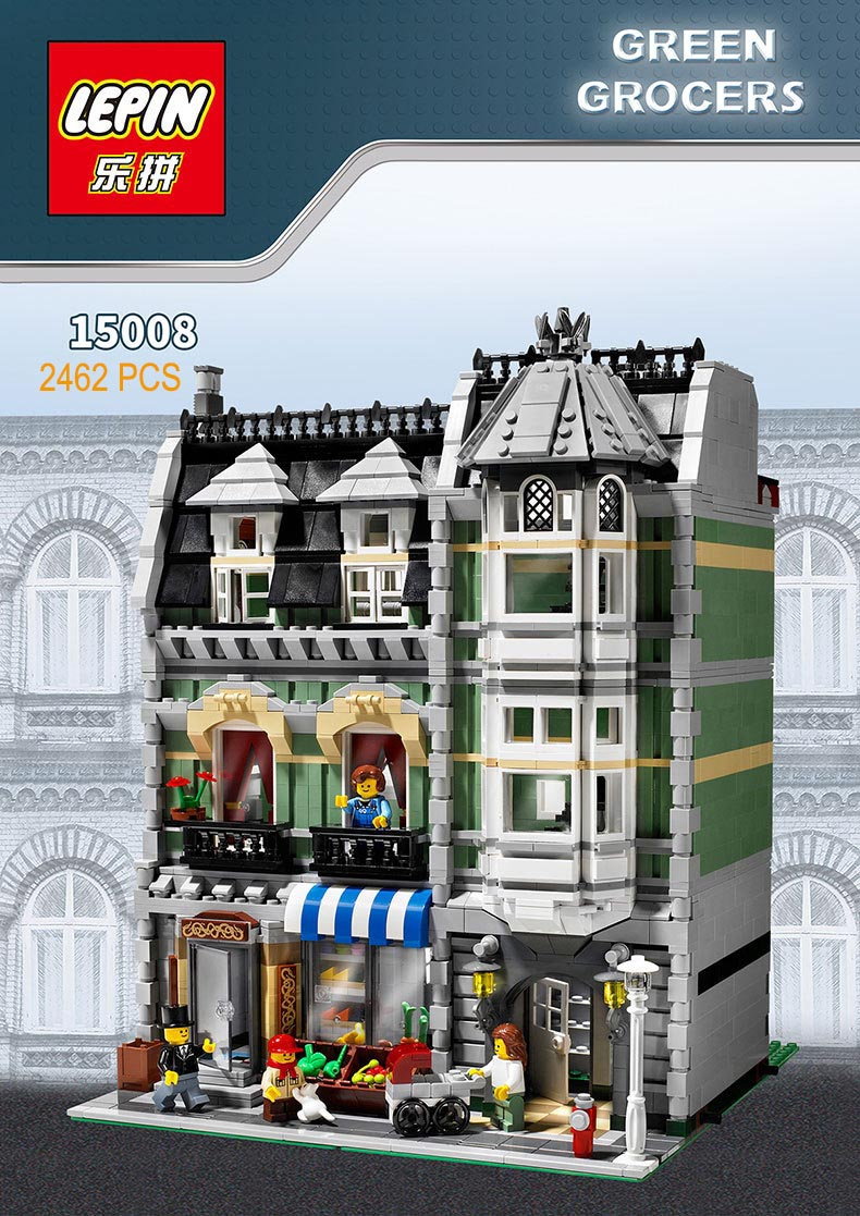 Lepin 15008 Legod Architecture City Street Creator Green Grocer Model Building Kit Blocks Bricks Compatible Toy 10185 lepin 15008 2462pcs genuine new city street green grocer model building kit blocks bricks toy gift compatitive funny 10185